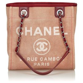 Chanel-Chanel Pink Mini Deauville Tote-Pink,Red