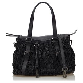 Burberry-Burberry Black Lowry Ruffled Handbag-Black