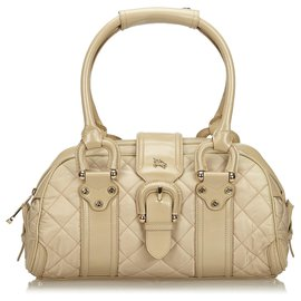 Burberry-Burberry Brown Quilted Nylon Manor Handbag-Brown,Beige
