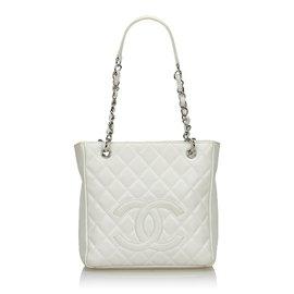Chanel-Sac Shopping Petite Caviar Blanc Chanel-Blanc