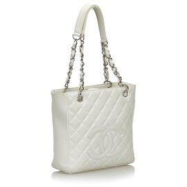 Chanel-Chanel White Caviar Petite Shopping Tote-White
