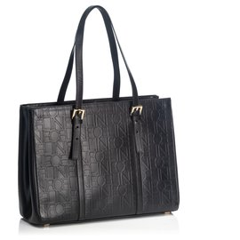 Céline-Celine Black Leather Tote Bag-Black