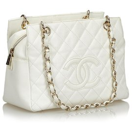 Chanel-Chanel White Caviar Petite Timeless Tote Bag-White
