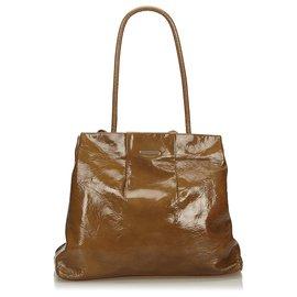 Céline-Sac cabas en cuir verni brun Céline-Marron,Marron foncé