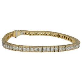 inconnue-Bracelet ligne en or jaune, diamants princesses.-Autre
