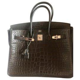 Hermès-Sac à main Birkin taille 35-Ebène