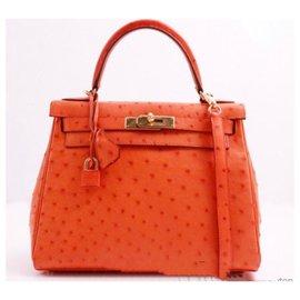 Hermès-Sac à main Kelly 28-Orange