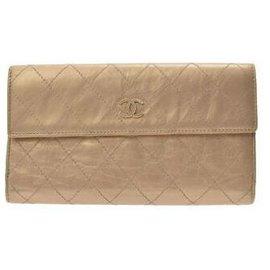Chanel-Chanel Matelasse Long Portefeuille à 2 volets-Doré