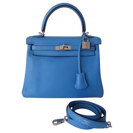 Hermès-Hermes Kelly bag 25 BLUE PARADISE-Blue