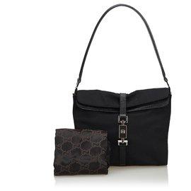 Gucci-Gucci Sac à bandoulière en toile noire Jackie-Noir
