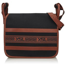 9e28b7f0a Yves Saint Laurent-YSL Black Canvas Crossbody Bag-Brown,Black ...