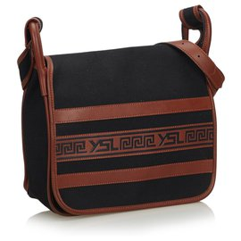 Yves Saint Laurent-YSL Black Canvas Crossbody Bag-Brown,Black
