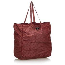 Prada-Sac cabas en nylon rouge imprimé Prada-Rouge