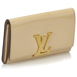 Louis Vuitton-Louis Vuitton Brown Vernis Louise Portefeuille-Marron,Beige
