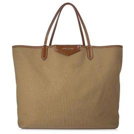 Givenchy-Givenchy Cabas Antigona en coton brun-Marron,Marron clair