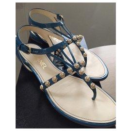 Chanel-sandals-Blue