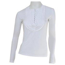 Céline-Céline Long Sleeve White Viscose & Casmere Top T-Shirt Size S SMALL-White