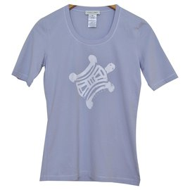 Céline-Céline Periwinkle Blue T-Shirt Top Size M MEDIUM-Blue