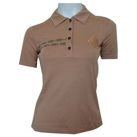 Céline-CELINE Paris Camel Polo Shirt Top Size S SMALL-Caramel