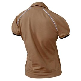 Céline-CELINE Camel Cotton Pique Short Sleeve Polo Shirt Top Size M MEDIUM-Caramel