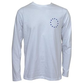 Etudes-ÉTUDES WONDER EUROPA Long Sleeve White Tee T-Shirt Size M MEDIUM-White,Blue