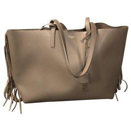 Yves Saint Laurent-Sac à Main shopping en cuir Saint Laurent-Beige