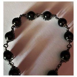 Chanel-Beautiful Chanel Metal Bracelet with 10 Onyx beads-Black