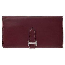 Hermès-Hermes Bearn wallet-Red