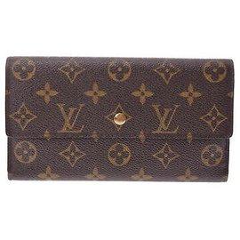 Louis Vuitton-Louis Vuitton Long Portefeuille à trois volets-Marron