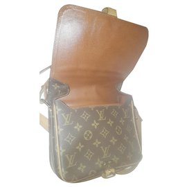 Louis Vuitton-sac bandoulière , cartouchiere en cuir 100%-Marron foncé
