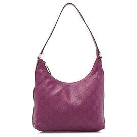 Gucci-Gucci Sac à bandoulière en cuir Guccissima violet-Violet