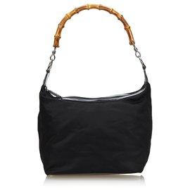 Gucci-Gucci Sac à bandoulière en nylon bambou noir-Noir