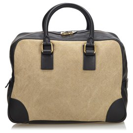 Céline-Celine Brown Canvas Handbag-Brown,Black,Beige
