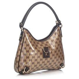 Gucci-Gucci Brown GG Crystal Abbey Sac à main-Marron,Beige,Marron foncé