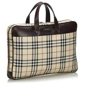 Burberry-Burberry Brown House Check Nylon Business Bag-Brown,Multiple colors,Beige