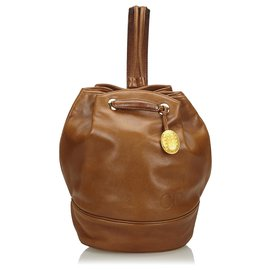 Dior-Sac à dos en cuir marron Dior-Marron
