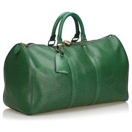 Louis Vuitton-Louis Vuitton Green Epi Keepall 45-Green