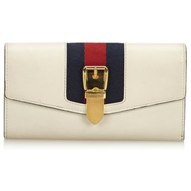 Gucci-Portefeuille Continental Continental en cuir Sylvie blanc-Blanc