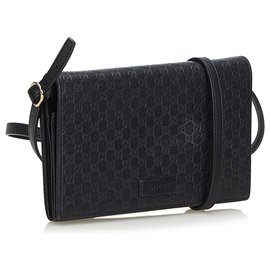 Gucci-Gucci Black Microguccissima Long Portefeuille Sur Sangle-Noir