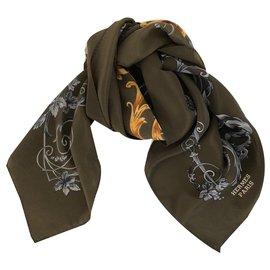 Hermès-Hermes scarf-Brown,Khaki