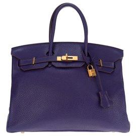 Hermès-Hermès Birkin 35 en cuir Togo violet, accastillage doré, stamp O (2011) en très bon état !-Violet