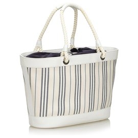 Burberry-Burberry Sac cabas en toile à rayures blanches-Blanc