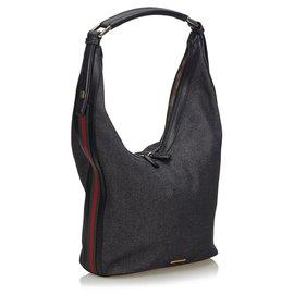 Gucci-Gucci Black Web Denim Sac à bandoulière-Noir,Multicolore