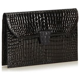 Yves Saint Laurent-YSL Pochette en cuir verni noir gaufré-Noir