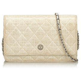 Chanel-Chanel White Quilted Coated Canvas Wallet on Chain-White,Cream