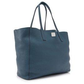 MCM-MCM - Sac cabas en cuir bleu Wandel-Bleu,Bleu foncé