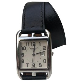 Hermès-Hermes Cape Cod lined Tower Watch-Black,Silvery