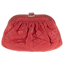 Chanel-wallet (clutch bag) Chanel red quilted lambskin and python gold jewelery in good condition!-Red,Dark red