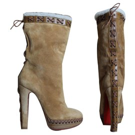 Christian Louboutin-Christian Louboutin Step N Roll 140-Marron clair,Caramel