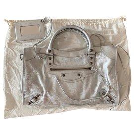 Balenciaga-City bag balenciaga new silver-Silvery